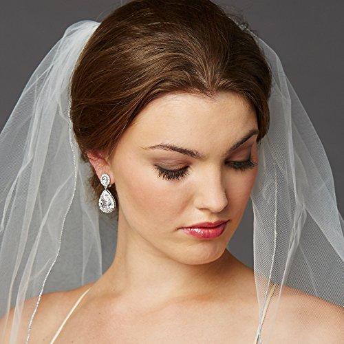 Mariell Teardrop Pear Shape Clip On CZ Wedding Bridal Earrings with Oval Halos - Platinum Plated Dangles