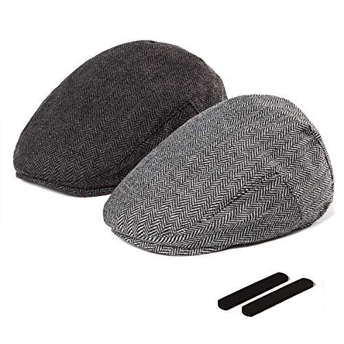 Classic Wool Ivy Cap - LADYBRO Black+Grey Tweed Flat Cap - Wool Hat for Men Newsboy Cap Ivy Hat Large 2 Pack