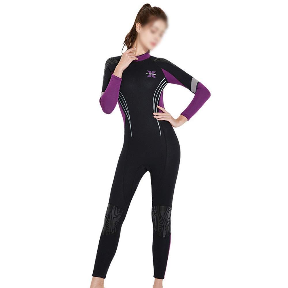 Violet S UICICI 3MM épais Costume de plongée Chaud féminin Siamois vêteHommests de Surf à Manches Longues Hiver Natation Froid Costume de plongée méduse Maillot de Bain