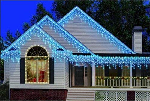 Blue And White Icicle Outdoor Christmas Lights in US - 9