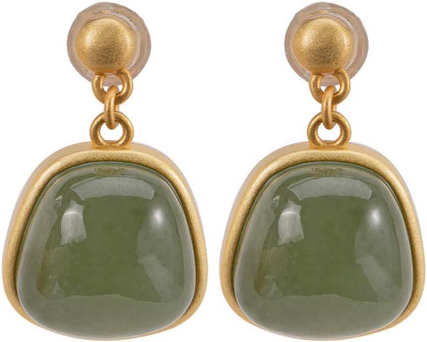 J.Memi's Simple Pendientes Plata De Ley 925 Jade Natural Colgante Minimalismo Joyas Aniversario Cumpleaños Regalo