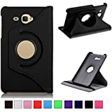 MOCA' 360° Rotary (Swivel Stand) PU Leather Folio Flip Cover case For SamSung Galaxy Tab J Max / Tab A 7.0 inch T285 T280 Flip Case Cover (Black)