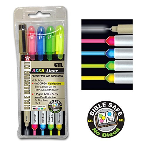 Accu-Gel/Pigma Micron Bible Marking Study Kit (Set of (Bible Highlighting Kit)
