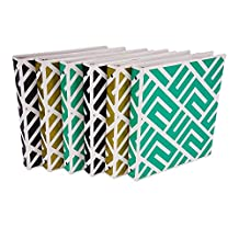 Samsill Fashion Print 3 Ring Binder, Maze Design, 1 Inch Round Rings, Assortment - Black, Metallic Gold, Aqua - 6 Pack