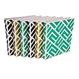 Samsill Fashion Design 3 Ring Binder, Maze Print, 1 Inch Round Rings, Assorted Colors  (Gold, Black, Aqua Green), Bulk Binders - 6 Pack