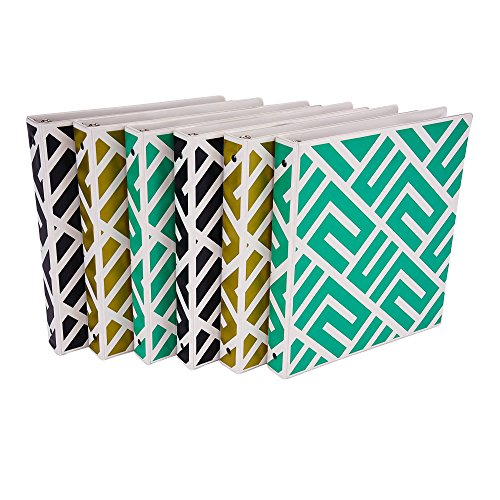 (Samsill Fashion Design 3 Ring Binder, Maze Print, 1 Inch Round Rings, Assorted Colors  (Gold, Black, Aqua Green), Bulk Binders - 6 Pack)