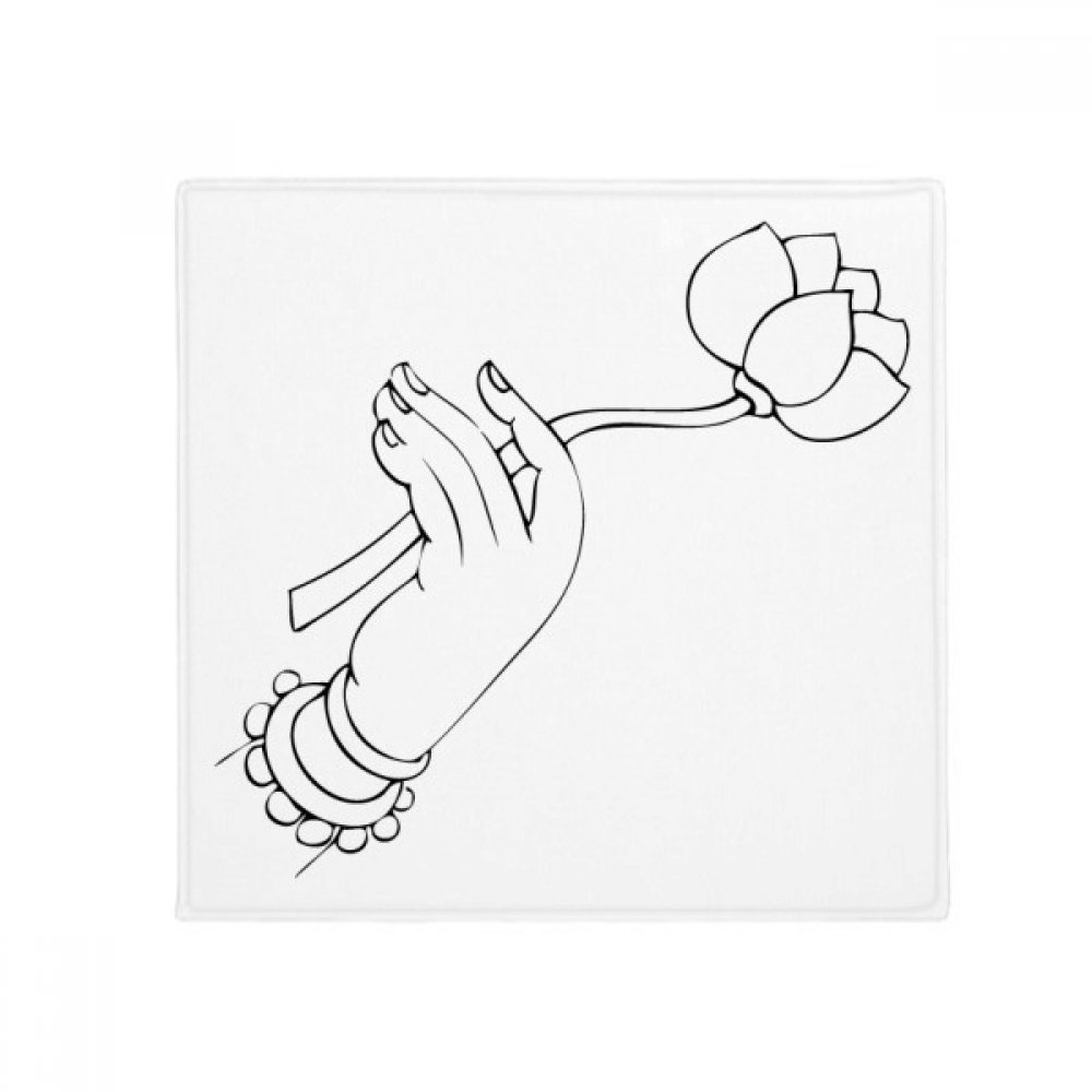 DIYthinker Buddhism Lotus Hand Line Drawing Pattern Anti-Slip Floor Pet Mat Square Home Kitchen Door 80Cm Gift
