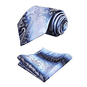 Alizeal Mens Solid Paisley Pattern Necktie and Hanky Set