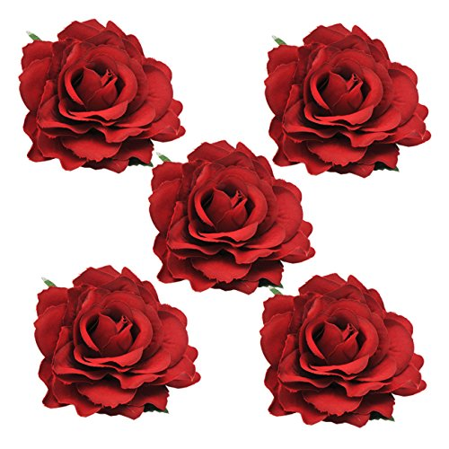 DRESHOW 5 Pack Flower Brooch Head Ornament Bride Women Rose Flower Hair Accessories Wedding Hair Clip Flamenco Dancer