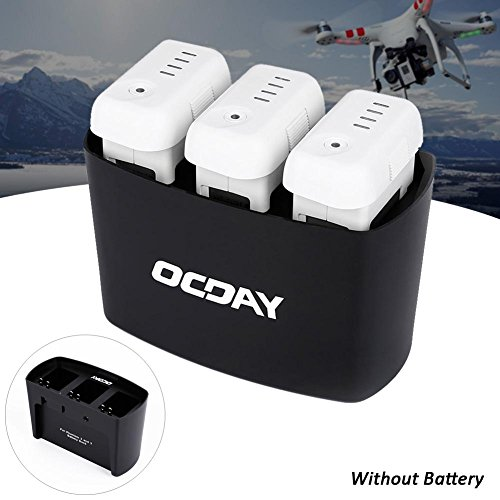 Price comparison product image OCDAY Black 3 in 1 3 Port Battery Dock Battery Charger for DJI Phantom 2 3 Intelligent charging management,  capable of automatically charging up to three batteries.