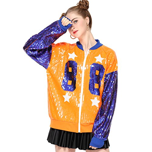 Sparkle Sequin Letter Jacket Coat - Glitter Long Sleeve Jacket for Women by IMAGICSUN (Image #1)