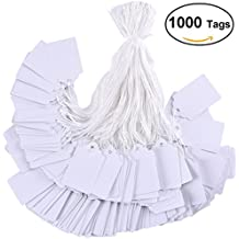 BBX 1000 pieces white tags with string marking strung tags writable tags display label for product jewelry clothing tags, 1.75 x 1.093 inches, pack of 1000 pieces