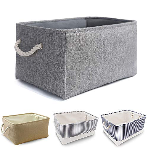Foldable Thickened Canvas Storage Box with Handles for Closet/Wardrobe丨Collapsible Storage Basket for Dog Toys (Medium…