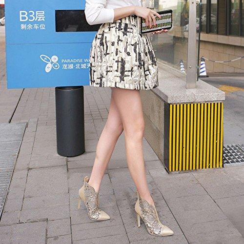 COOLCEPT Mode-Event Damen Pointed Toe Cut-Outs Pumps Artificial Strass Schuhe mit Zipper Gold