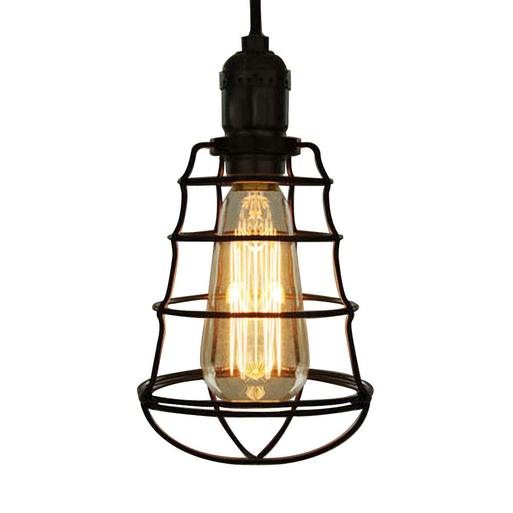 SUSUO Lighting Wire Cage Mini Pendant Lighting Industrial Loft Hanging Light with On/Off Switch