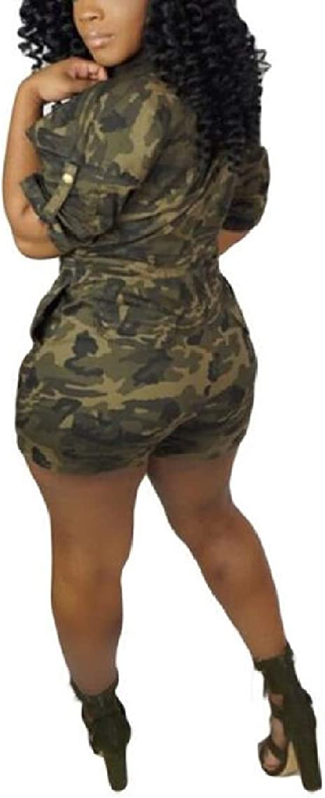 Women Short-Sleeve Casual Single-Breasted Camouflage Shorts Romper Playsuit
