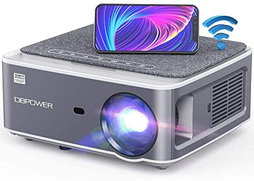 "DBPOWER Native 1080P WiFi Projector, 8500L Full HD Outdoor Movie Projector, Support 4D Keystone Correction, Zoom, PPT, 300"" Portable Mini Video Projector Compatible w/Smart Phone/Laptop/PC/DVD/TV/PS4"