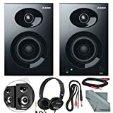 "Alesis Elevate 3 MKII 20W 3"" Two-Way Active Desktop Studio Speakers and Deluxe Bundle w/Monitoring Headphones, Cables, and Fibertique Cloth"