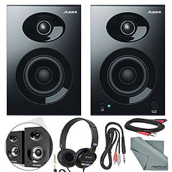 Image of Alesis Elevate 3 MKII 20W 3' Two-Way Active Desktop Studio Speakers and Deluxe Bundle w/Monitoring Headphones, Cables, and Fibertique Cloth Bookshelf Speakers