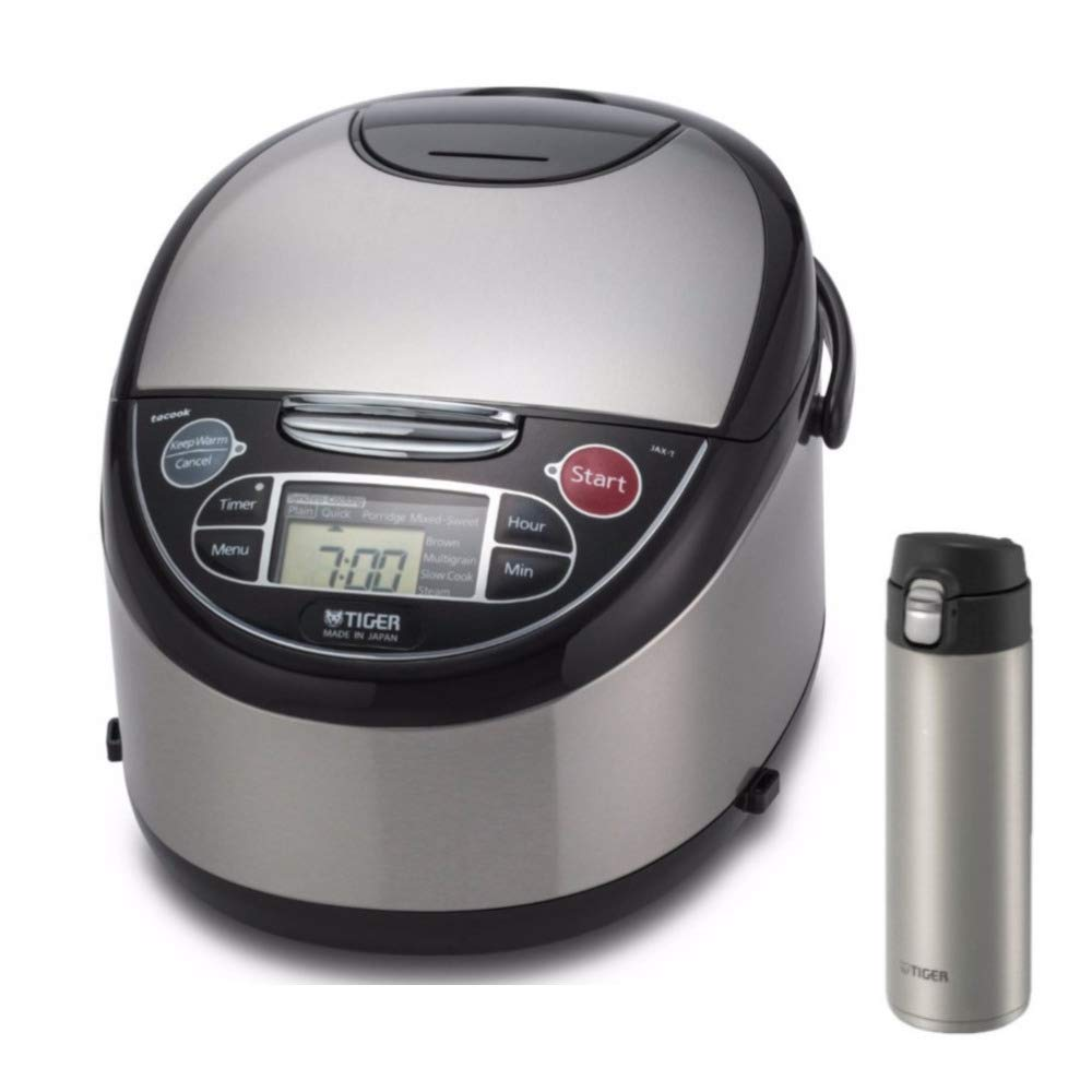 Tiger JAX-T10U-K 5.5-Cup (Uncooked) Micom Rice Cooker with Food Steamer & Slow Cooker, Stainless Steel Black PLUS Travel Mug