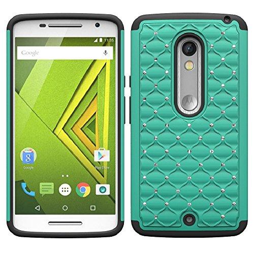 Droid Maxx 2 Case, Moto X Play Case, SOGA [Jewel Gem Series] Hybrid Diamond Bling Cover Protector Case for Motorola Droid Maxx 2 XT1565 / Moto X Play XT1562 (Verizon) ()