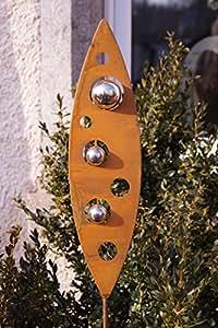 Efecto Oxidado. Hojas con acero inoxidable bolas AM Varilla Jardín Decoración Escultura de metal