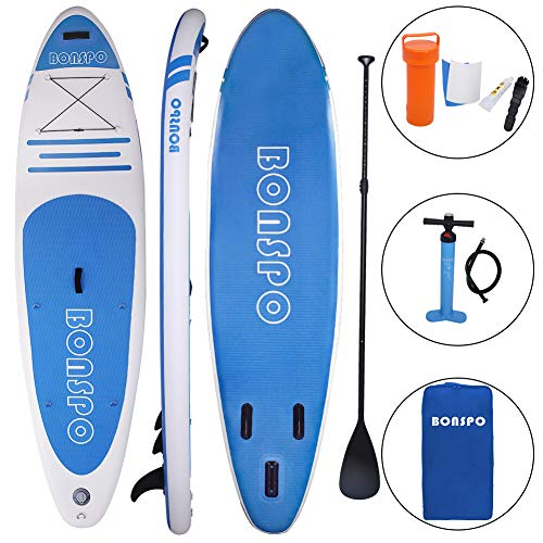 BONSPO 10 6 SUP, Inflatable Stand Up Paddle Board with ISUP Accessories Includes Paddle, Backpack, Leash, Pump, Repair kit, Ideal for All Skill Levels, Stable Wide Stance, Black Blue
