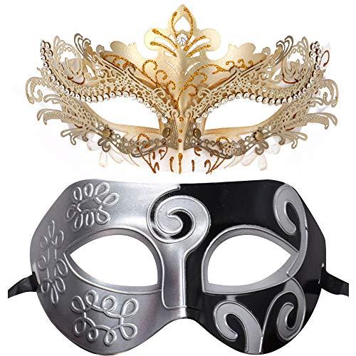 BLEVET 2PCS Couple's Venetian Masquerade Mask Set for