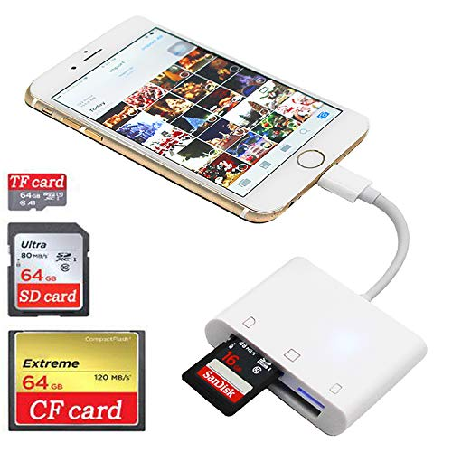 SD CF Card Reader for iPhone iPad iPad pro Camera SD Reader Adapter Memory Card Reader Adapter Digital Camera Reader for iPhone Xs Max/Xs/X/8 Plus/8/7 Plus/7/iPad Mini/Air No App Require (Best Card Reader App For Iphone)