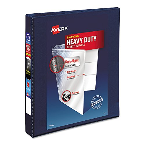 Avery Heavy-Duty Reference View Binder with 1 Inch EZD Rings, Navy Blue - Avery Reference Durable View Binders