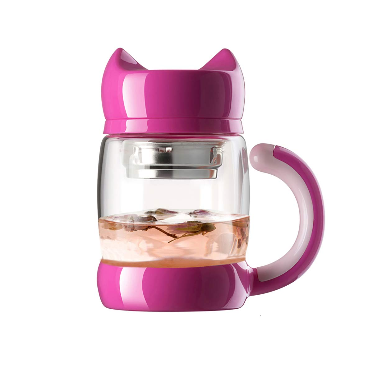 Cute Cat Tea Cups with Strainer/Infuser - 420 ml / 14 oz Portable Heat Resistant Glass Cat Tail Tea/Coffee Mugs - Best Gift for Tea/Cat lovers (pink)