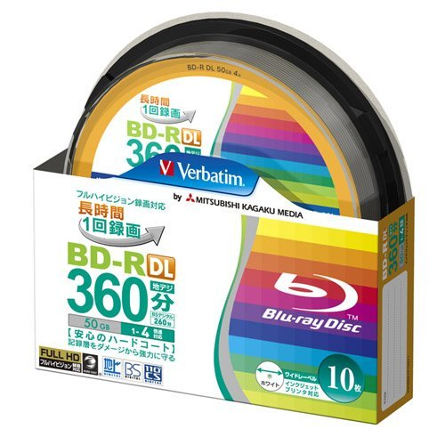 10 Verbatim Original Spindle Pack 50 GB BD-R DL Dual Layer Printable Discs by Verbatim