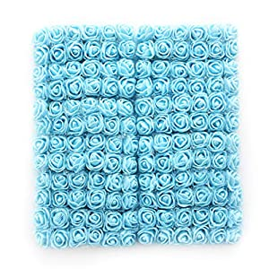 roses flower heads Sky Blue Artificial Rose Flowers DIY 144 PCS Head Rose Flowers Wedding Bride Bouquet PE Foam DIY Party Festival Home Decor Rose Flowers (Sky Blue) 56