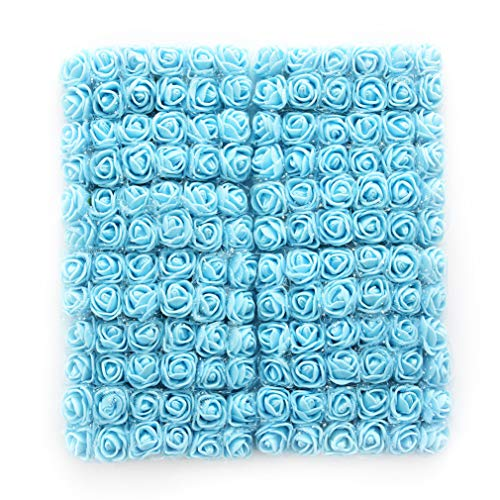 roses flower heads Sky Blue Artificial Rose Flowers DIY 144 PCS Head Rose Flowers Wedding Bride Bouquet PE Foam DIY Party Festival Home Decor Rose Flowers (Sky Blue)