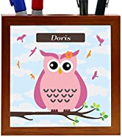"Rikki Knight ""Doris"" Name - Cute Pink Owl on Branch with Personalized Name Design 5-Inch Tile Wooden Tile Pen Holder (RK-PH26571)"