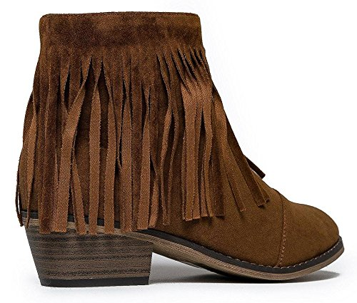 Bootie Ankle Suede Women Toe Tan Cap Breckelles Fringe DC62 New w0TY6Y