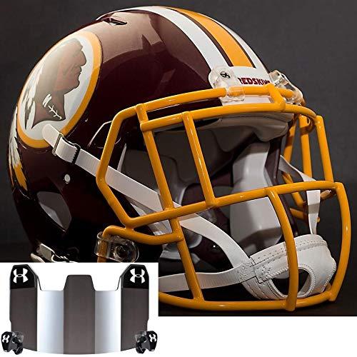 edskins NFL Authentic Football Helmet with S2EG-SW-SP Football Helmet Facemask/Faceguard and Mirrored Eye Shield/Visor ()
