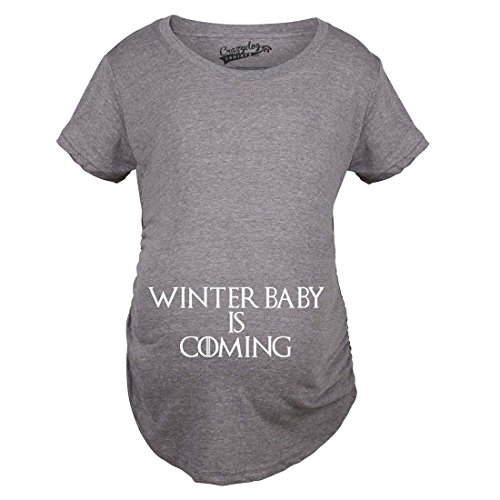 Maternity Winter Baby is Coming T Shirt Geek Novelty Pregnant Shirts Funny (Grey) M