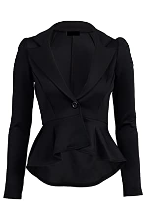 Crazy Girls Women's Fitted Dip Hem Peplum Style Blazer at Amazon ...