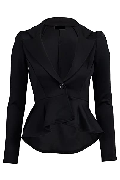 67174f537a79e4 Crazy Girls Womens Ladies Fitted Dip Hem Peplum Style Blazer Jacket at  Amazon Women's Clothing store: