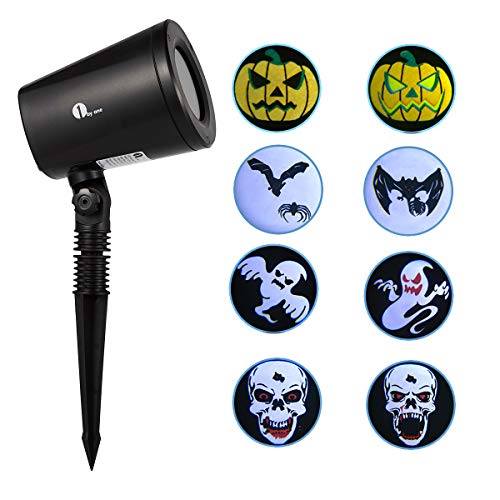 1byone Halloween LED Light Projector, Auto-Switching Light Images, Outdoor/Indoor Use, IP65 Water-Resistant