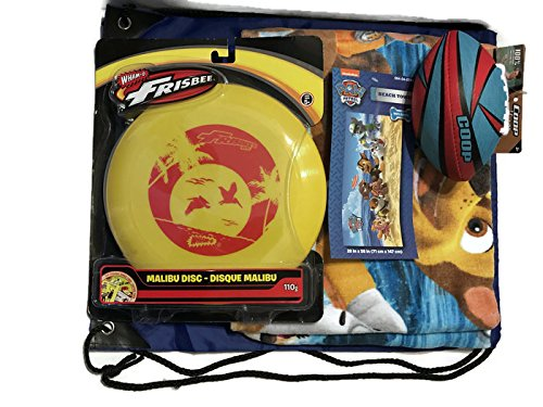 Mixed Paw Patrol Beach Towel, Hydro Football, Wham-o Frisbee Bag, 4 Piece Bundle