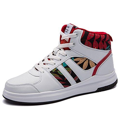 ROSEUNION Herren Mode High Top Leder Street Sneaker Trainer Schnüren Breathable Sport Freizeit Schuhe mit Klettverschluss Men Running Shoes Sports Style4-Schwarz-Weiß