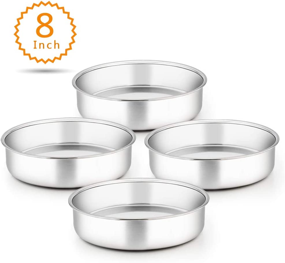 TeamFar 8 Inch Cake Pan, 4 Pieces Stainless Steel Round Tier Baking Cake Pans Set for Baking Steaming, Fit in Oven Instant Pot Pressure Cooker, Healthy & Sturdy, Mirror Finish & Dishwasher Safe