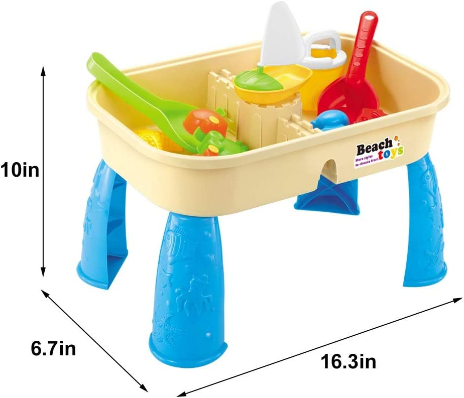 Cover Summer Beach Outdoor Toys Children Square Sand Water Table Center Multicolour 2-in-1 Adjustable Activity Sand and Water Table Toy With Tool For Outdoor Toys For Kids Age 3-5