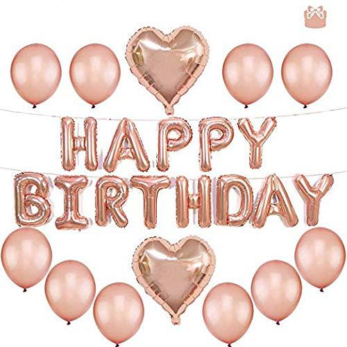 Amazon 13 Pack Rose Gold Happy Birthday Balloons Kicpot Ballons Banner Heart Foil Latex Balloon For
