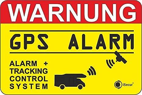 iSecur 2er Set Hinweis-Aufkleber GPS Alarm Tracking System I 6 x 4 cm au/ßenklebend I Achtung Warnung GPS Alarm-gesichert Wohnmobil Wohnwagen I hin/_005