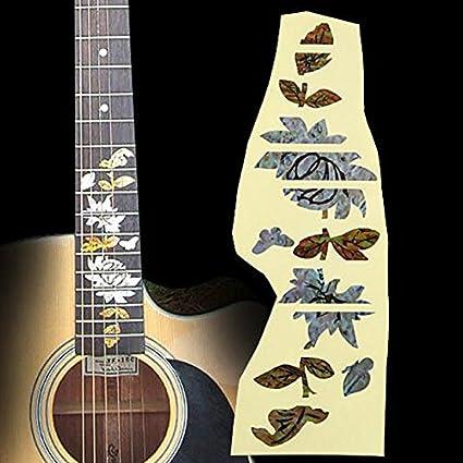 Estilo de guitarra Etiqueta de diapasón Mariposa Amor Flor 3 ...