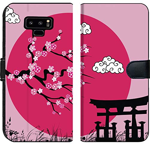 Samsung Galaxy Note 9 Flip Fabric Wallet Case Image ID: 9404710 Japanese Sakura Blossom and Tori gate Vector Illustration
