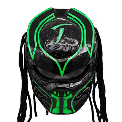 Predator Motorcycle Helmet - DOT Approved - Unisex - Alien Green Xeno